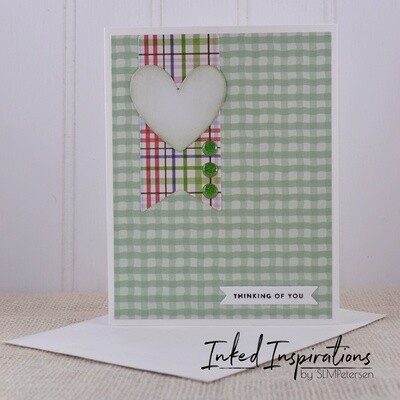 Thinking of You - Green Plaid with Heart