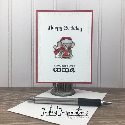 Happy Birthday All You Need is Love & Cocoa - Mouse in Green & Red