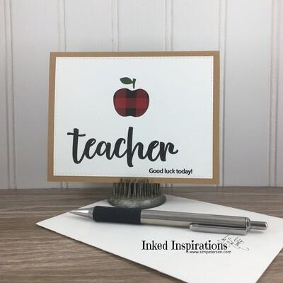 Teacher Good Luck Today - Plaid Apple