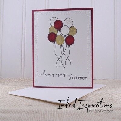Happy Graduation - Marron, Gold & White Balloons