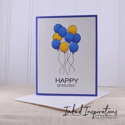 Happy Graduation - Blue & Gold Balloons