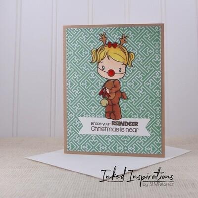 Brace Your Reindeer - Little Girl in Reindeer Costume