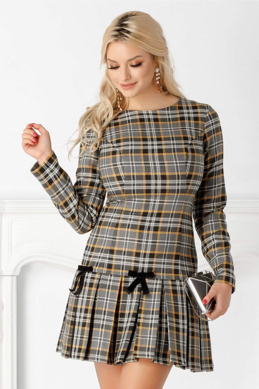 Tartan Dress With Bow Detail