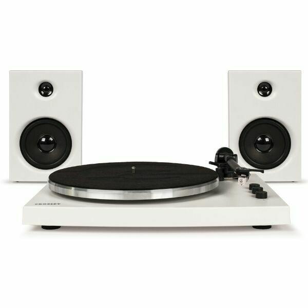 Crosley T150 Stereo Turntable System White Speakers