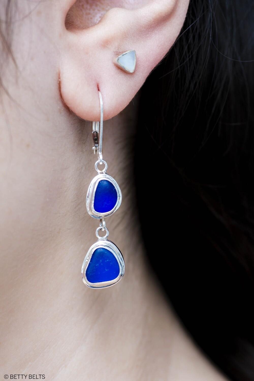 Sea Glass Earrings (DOUBLE DROP)