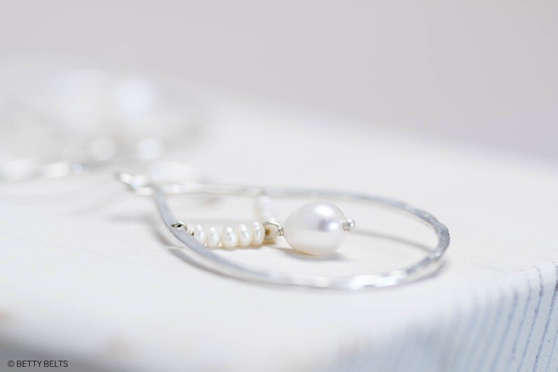 Hammered Teardrop Hoops + Pearls