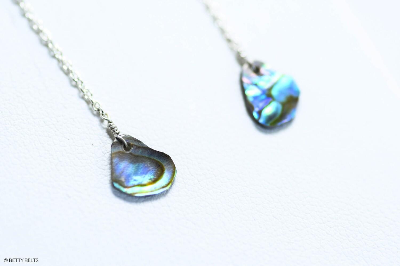 Abalone + Silver Threader Earrings