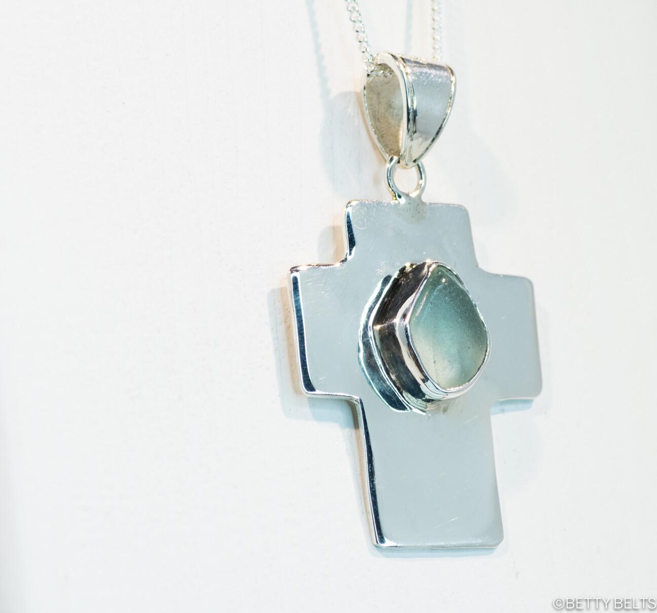 Sea Glass + Silver Cross Pendant