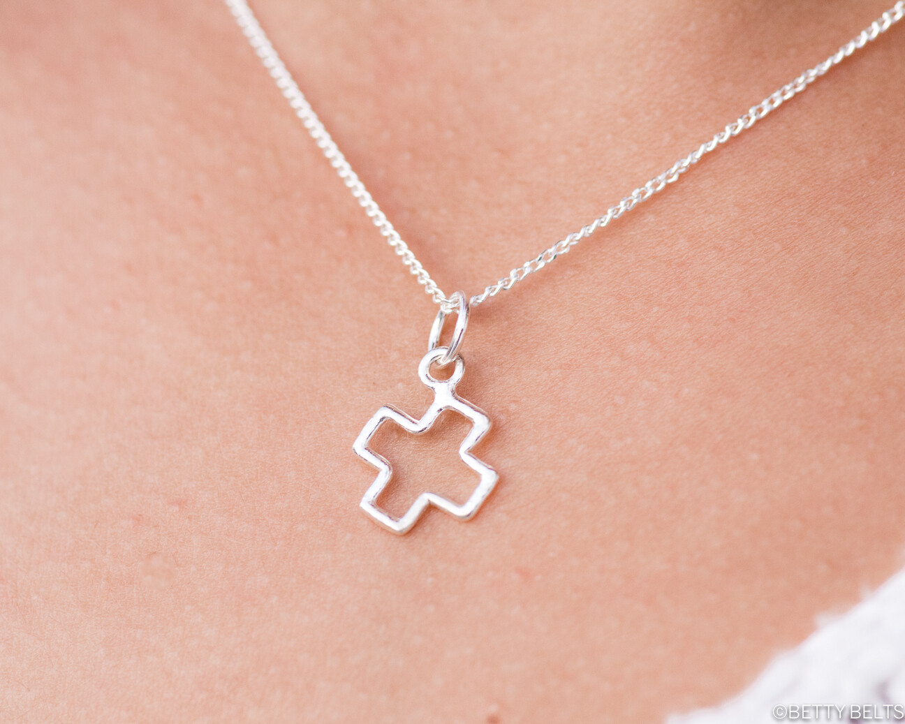 Sterling Silver Cross/Plus Charm Necklace