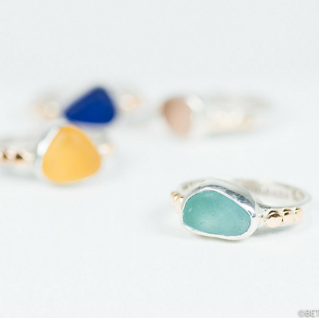 Gold Studded Sea Glass Ring (YAEL)