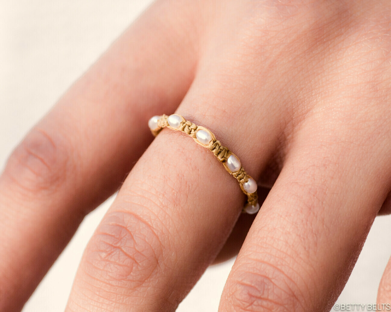Pearl + Golden Braid Ring (JACKIE)