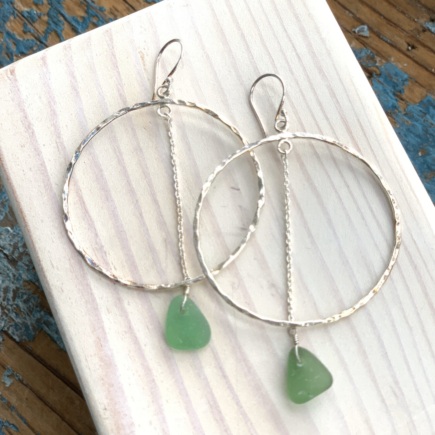 JEANETTE Sea Glass Drop Chain Hoop Earrings