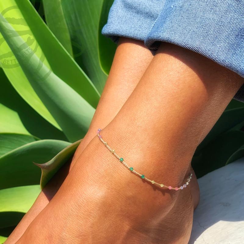 Rainbow Gemstone Anklet (ADINA)