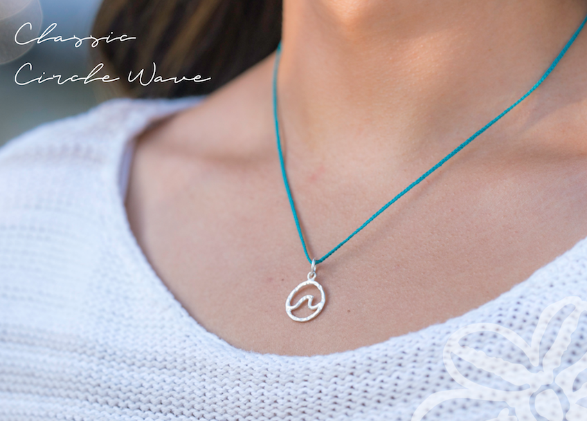 Circle Wave + Braided Cord Necklace