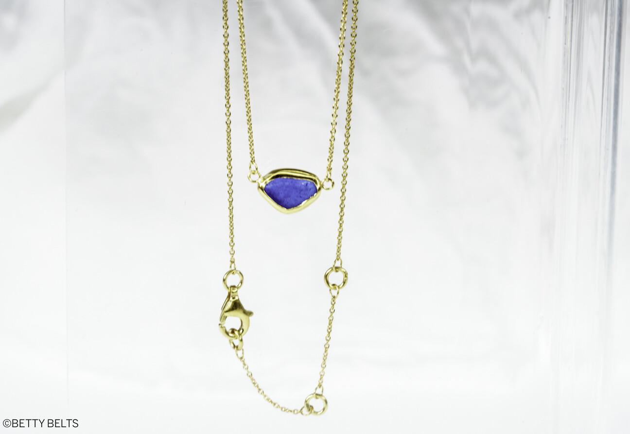 HOPE Sea Glass Necklace(Gold Vermeil)