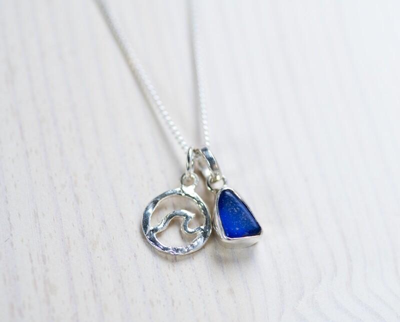 Sea Glass Necklace (Mermaid Tear + Wave)