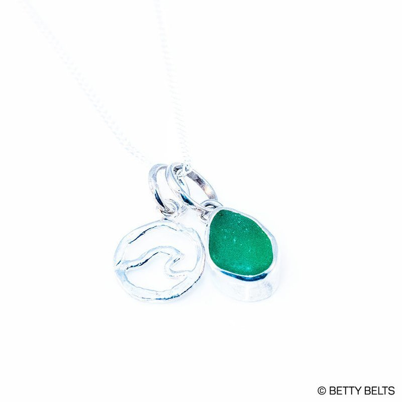 Sea Glass Necklace (Mermaid Tear + Wave)