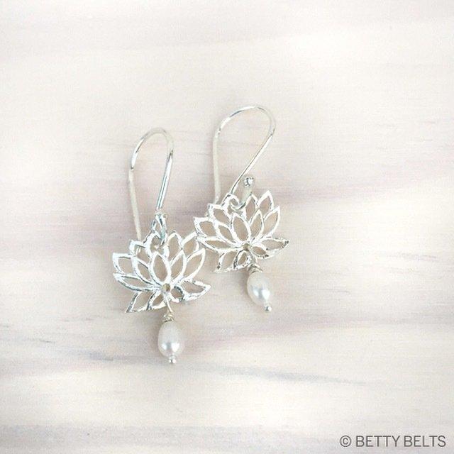 Lotus Pearl Drop Earrings