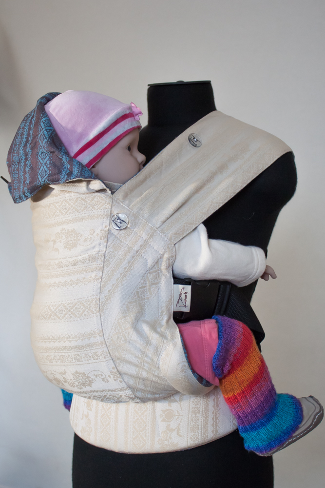 Baby carrier Karaush Adel Baked Milk/Adel Turqouise from two sides