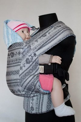 Baby carrier Karaush Adel Elegance/Adel Sky from two sides