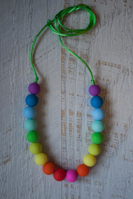Слингобусы  двойная радуга с силиконовыми бусинами