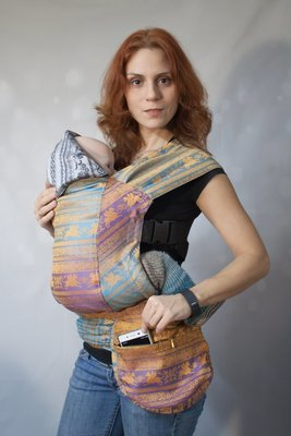 Baby carrier Karaush Adel Elegance/Kuzma Rainbow Opal from two sides