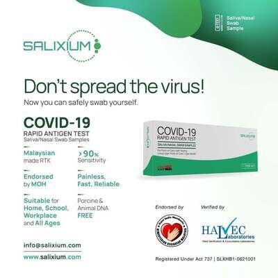 Salixium COVID-19 Home Self Test Rapid Antigen Kit Saliva/Nasal