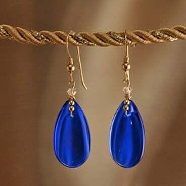 Earrings: Simply Elegant: Teardrops - Gold Blue