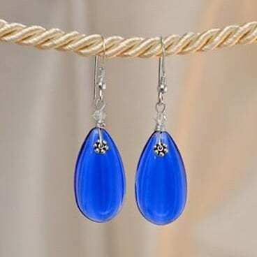 Earrings: Simply Elegant: Teardrops - Silver Blue