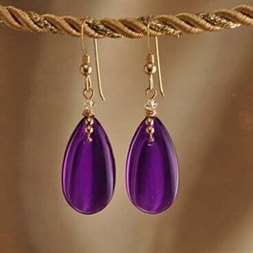Earrings: Simply Elegant: Teardrops - Gold Plum