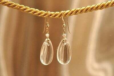 Earrings: Simply Elegant: Teardrops - Gold Clear