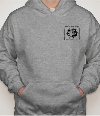 Grey Hoodie with White Rose UK Logo