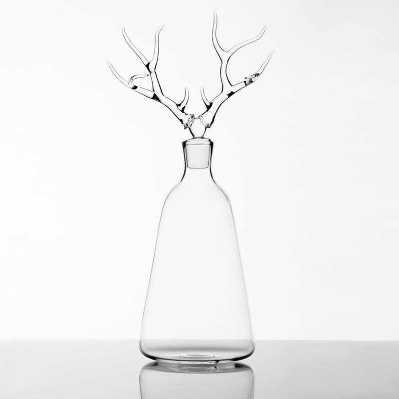 Hand Blown Glass Bottle 'Deer '- Trophy Bottles