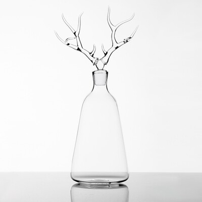 Hand Blown Glass Bottle 'Deer '- Trophy Bottles