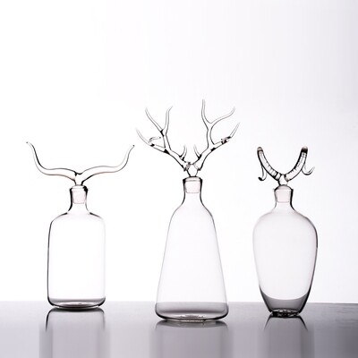 Hand Blown Glass Bottles 'Trophy Bottles Set'