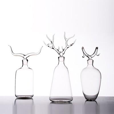 Hand Blown Glass Bottles 'Trophy Bottles Set'