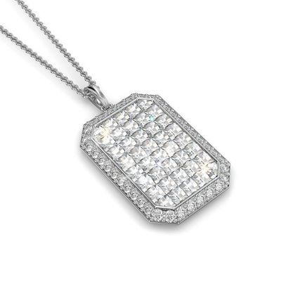 Emerald shape Pendant with Blaze cut diamonds