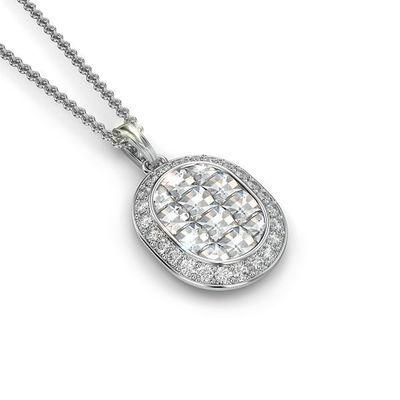 Oval Shape Pendant with Diamonds