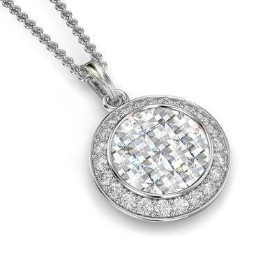 Round Pendant with Diamonds and Pave Diamond Frame