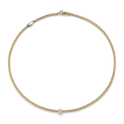 Yellow Gold Link Necklace with Diamonds