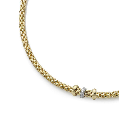 Yellow Gold Diamond Rondelle Necklace