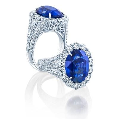 Platinum Sapphire Oval Ring