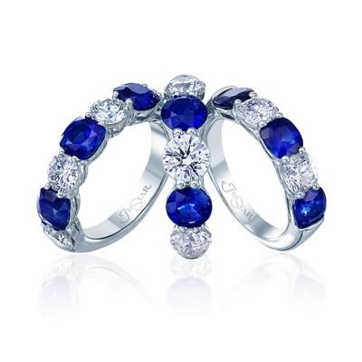 Sapphire, Round Diamond Rings