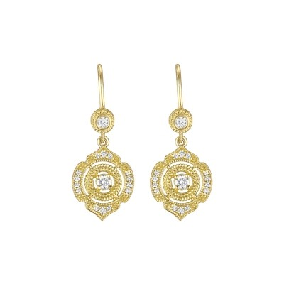 Pointed Round Drop Earrings