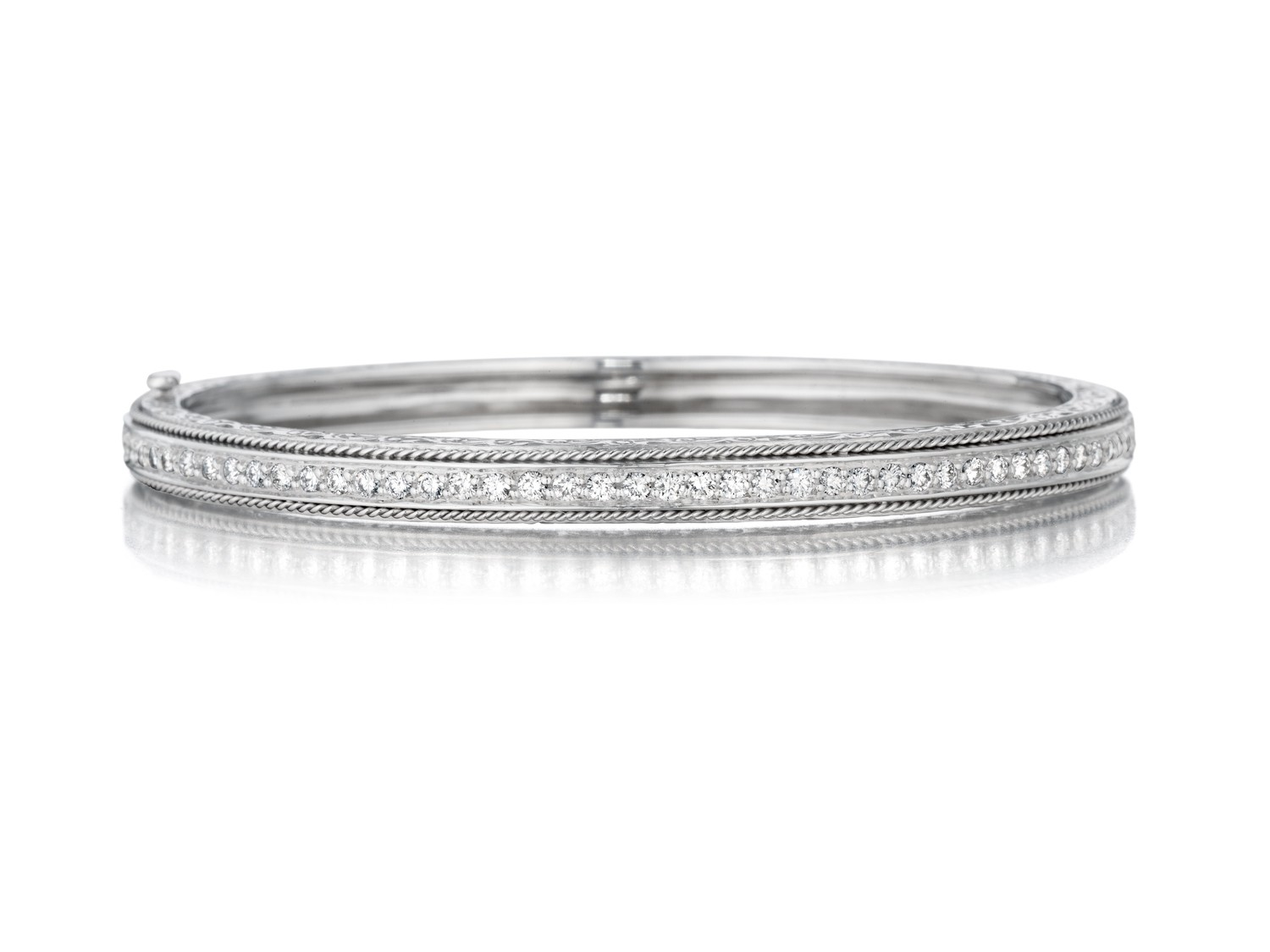 Medium Engraved Pave Hinged Bangle