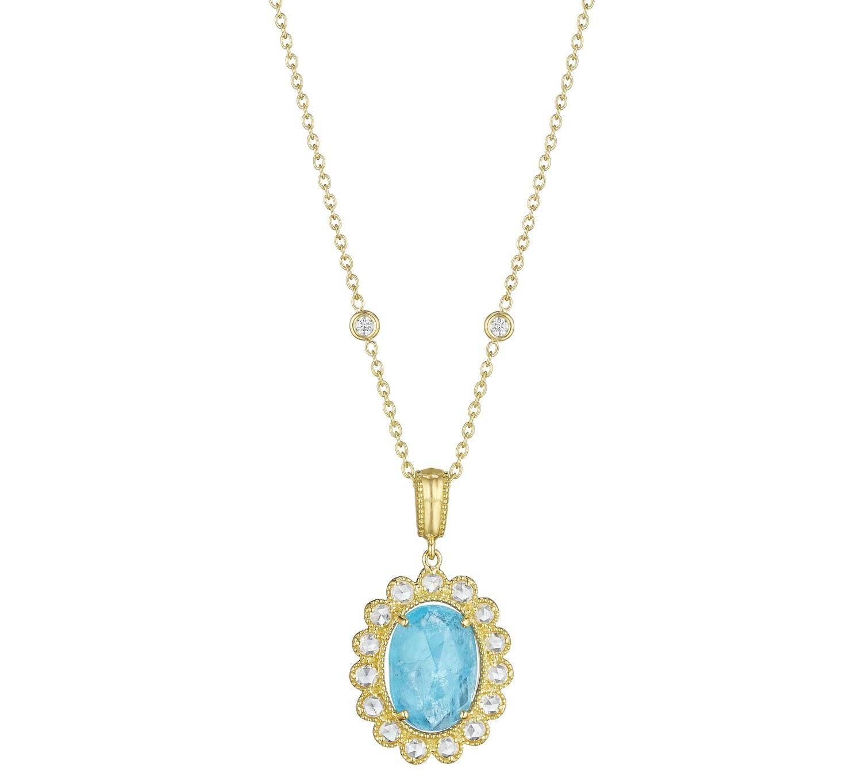 Rose-Cut Diamond & Scalloped Oval Aquamarine Enhancer
