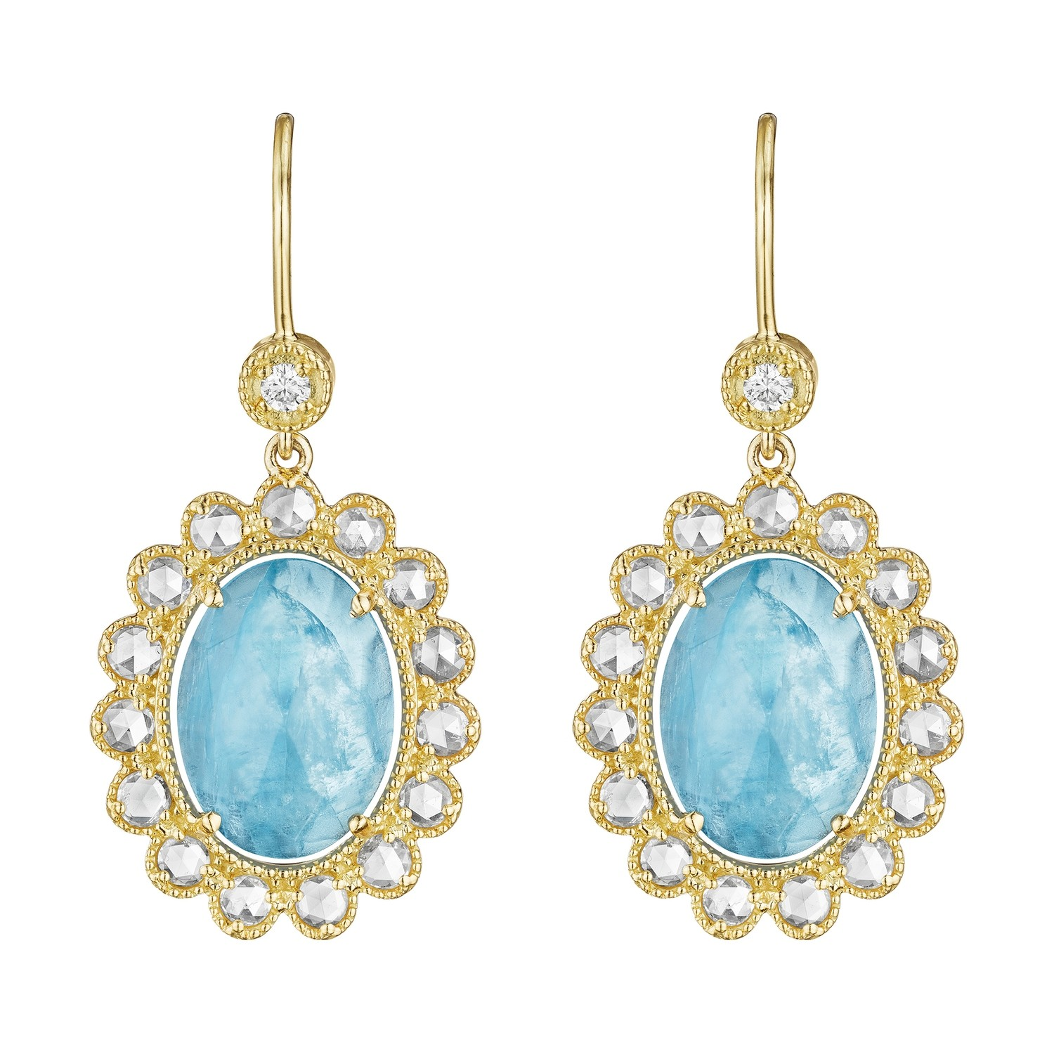 Rose-Cut Diamond Scalloped Oval Aquamarine Earrings