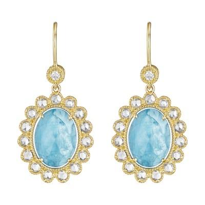 Rose-Cut Diamond Scalloped Oval Aquamarine Earrings