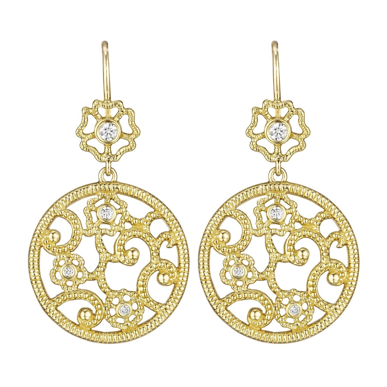 Round Open Lace & Flower Earrings
