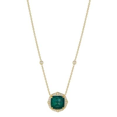 Pointed Cushion Emerald Pendant